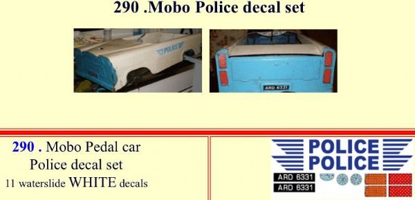 MO290 Mobo Police Pedal Car decal set
